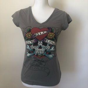 Ed Hardy gray tee shirt women's small